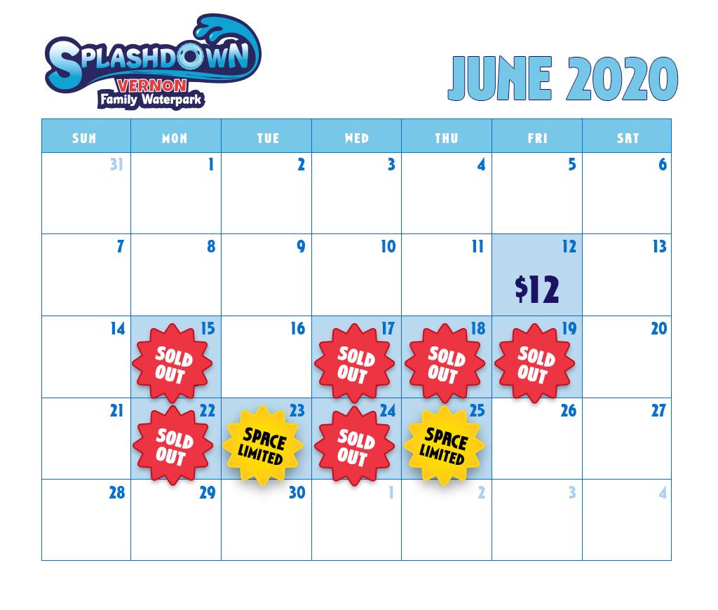 June 2020 School Booking Availability Calendar